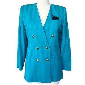 Vintage 80s Worthington Teal Blue Stripe Blazer